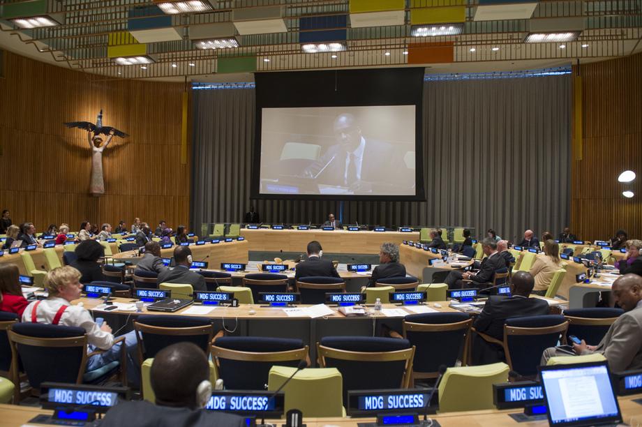 Presidente da Assembleia Geral da ONU, John Ashe, fala durante evento sobre os Objetivos de Desenvolvimento do Milênio (ODM). Foto: ONU/Eskinder Debebe