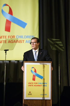 Roger Moore, Goodwill Ambassador, at Launch of New Global Campaign Against AIDS