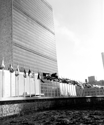 Flags of 16 New UN Member Nations Fly at Headquarters