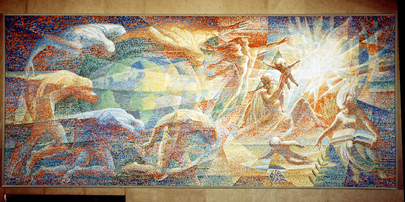 "Mural Painting ""Titans"" by Lumen Martin Winter at UNHQ"