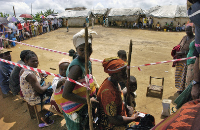 Lining up to Vote in Liberian Elections