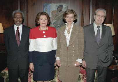 UN Secretary-General and Spouse Meet with Javier Perez de Cuellar, former UN Secretary-General and Spouse