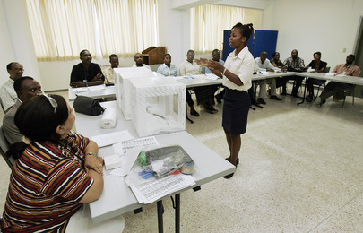 MINUSTAH Officer Trains Electoral Polling Officers