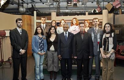 Secretary-General with Palestinian Journalists