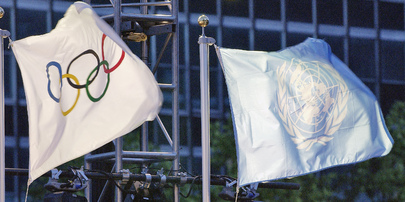 Flags of United Nations and Olympics are Raised at United Nations Headquarters at Special Ceremony