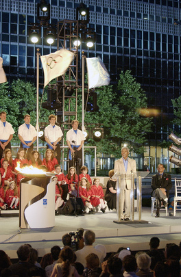 Secretary-General Addresses Gathering at Olympic Torch Relay Event