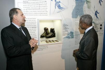 Secretary-General Tours Olympic Museum in Switzerland