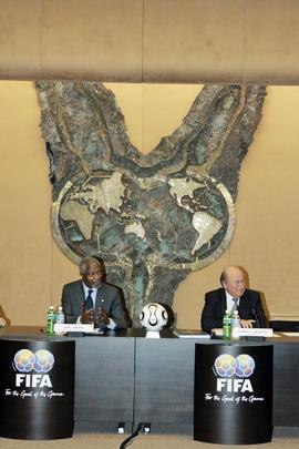 Secretary-General Addresses Press Conference at FIFA Headquarters