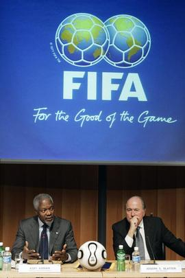 Annan, Blatter Hold Joint Press Conferenceat FIFA Headquarters