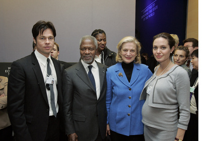 Secretary-General with Brad Pitt and Angelina Jolie in Davos