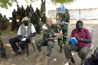 United Nations Military Observers Confer With Local Leaders in Sudan