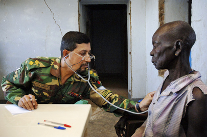 Bangladesh Military Doctor Attends to Patient in Sudan