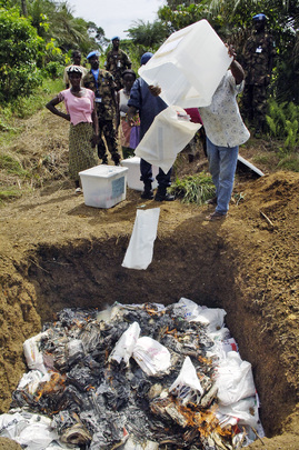Citizens and UNMIL Destroy Voting Materials in Liberia