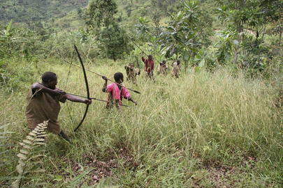 Batwa Men Hunting with Bow and Arrow