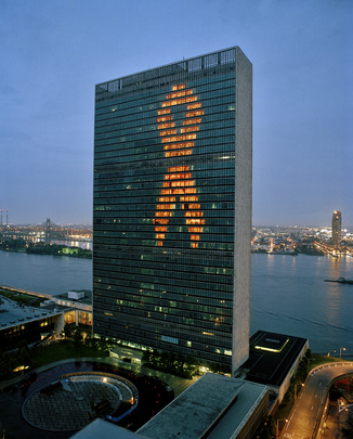 United Nations Lit with Red Ribbon to Spotlight General Assembly Special Session on HIV/AIDS