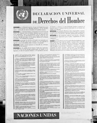 united nations photo poster depicting universal declaration of  poster depicting universal declaration of human rights spanish version