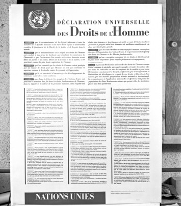 Poster Depicting Universal Declaration of Human Rights -- French Version