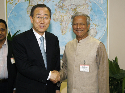 Secretary-General-designate Meets 2006 Nobel Peace Prize Winner