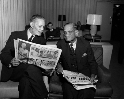 Representatives of India and Pakistan Read News of Gandhi's Assassination