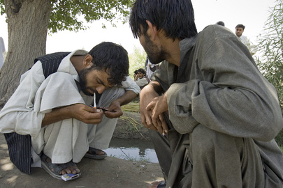 Afghan Men During Break from Drug Counselling Session