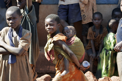 Children Play in Streets of Village in Tanzania