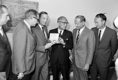 United States Presents Moon Rock and Flag to United Nations