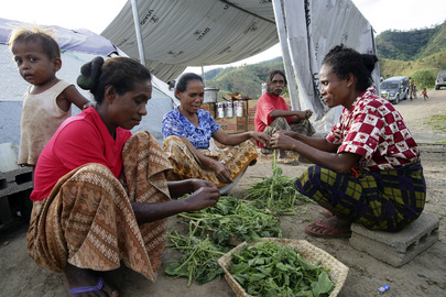 Displaced Timor-Leste Women Prepare Meal