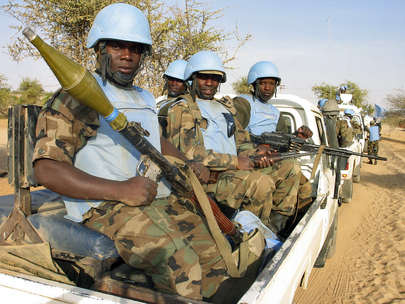UNAMID Personnel Guards Supply Convoy