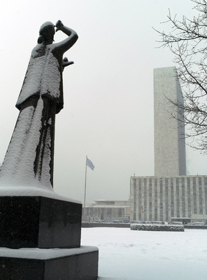 United Nations New York Headquarters in Winter