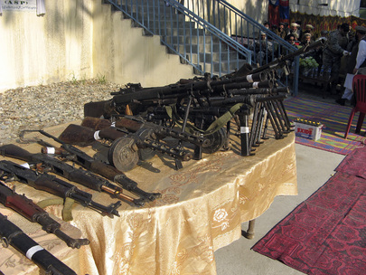 Some of the 130 light and heavy weapons collected from fighters under the disarmament programme -- Disarmament of Illegal Armed Groups (DIAG) on display. 28 January 2008 Kabul, Afghanistan