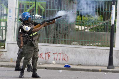 MINUSTAH Peacekeepers Disperse Demonstrators in Haiti