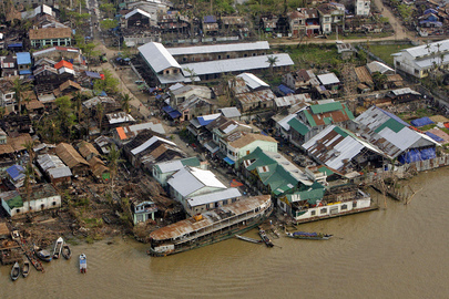 Aerial View of Cyclone-Devastated Area During Tour by Secretary-General
