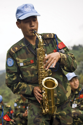 MONUC Peacekeeper Plays Saxaphone