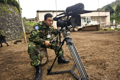MONUC Peacekeeper Uses Video Camera
