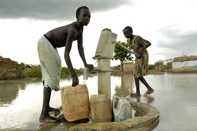 Children Fetch Water during Flooding