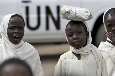 Young Girls Return from School in North Darfur
