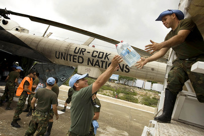 MINUSTAH Distributes Water Supplies for Flood Victims