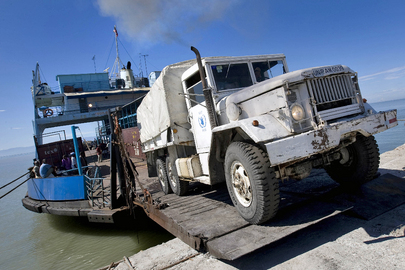 WFP Truck Brings Food Supplies for Storm Victims