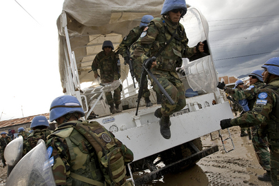 MINUSTAH Military Personnel Provide Security for Flood Victims