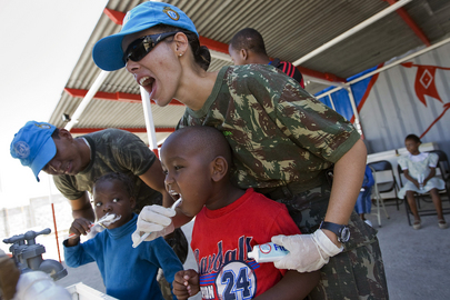 MINUSTAH Personnel Teach Children Proper Dental Care
