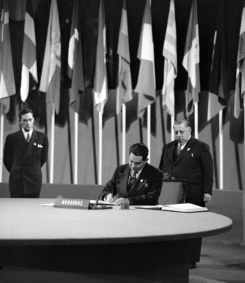 The San Francisco Conference, 25 April - 26 June 1945: Honduras Signs the United Nations Charter