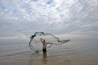 Fisherman Casts Net