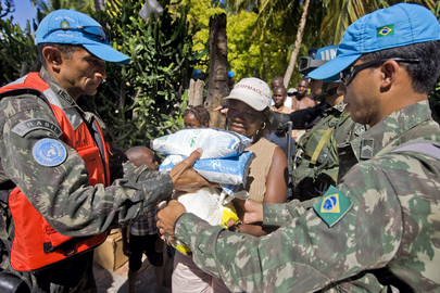 MINUSTAH Peacekeepers Distribute Food Rations