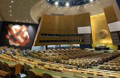 A GENERAL VIEW OF THE EMPTY GENERAL ASSEMBLY HALL