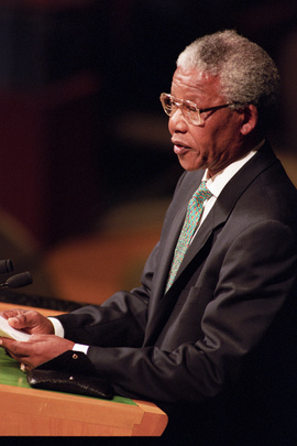 Nelson Mandela, President of African National Congress of South Africa, Addresses Committee against Apartheid