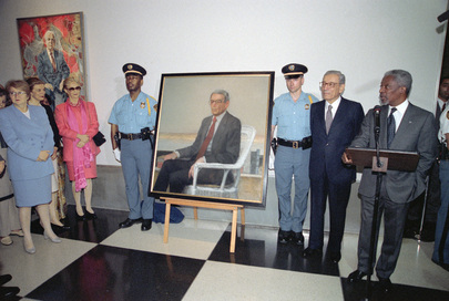 Official Portrait of Former United Nations Secretary-General Boutros Boutros-Ghali, Unveiled at Headquarters