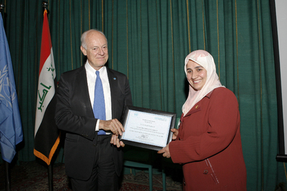 Head of UNAMI Presents Appreciation Certificate