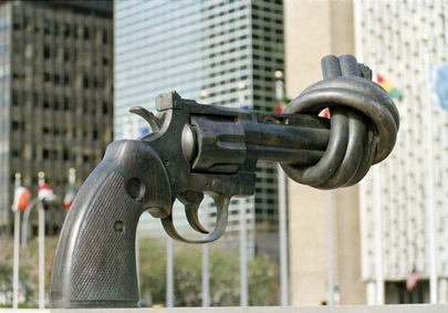 This sculpture is a gift from the Government of Luxembourg and was presented to the United Nations in 1988. It consists of a large replica in bronze of a .45-calibre revolver, the barrel of which is tied into a knot. It was created in 1980 as a peace symbol by Swedish artist Carl Fredrik Reuterswärd, and is located at the Visitors' Plaza, facing First Avenue at 45th Street. (UN Photo/Michos Tzovaras)