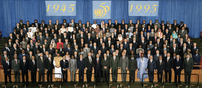 Group Photo of World Leaders Attending Special Commemorative Meeting of the General Assembly on the Occasion of the Fiftieth Anniversary of the United Nations