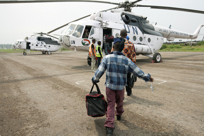 Former Child Soldiers Board MONUC Helicopter